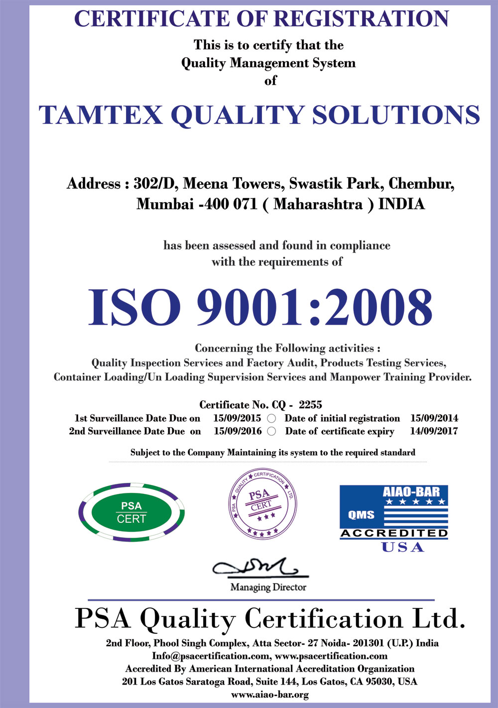 Welcome to tamtex inspection companies india inspection tamtex iso 90012008 certified xflitez Images
